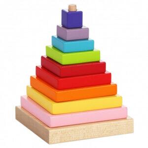 Drvena sarena kockasta piramida