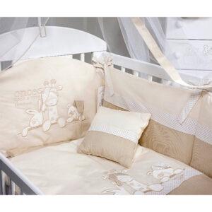 Krem posteljina sa ogradicom za krevetac Tri drugara.