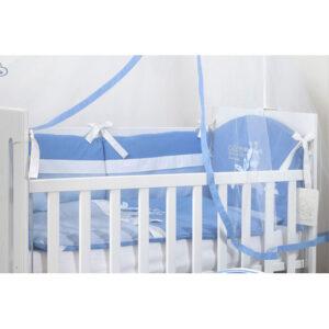Plava posteljina sa ogradicom za krevetac Tri drugara.