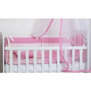 Roze posteljina sa ogradicom za krevetac Tri drugara.