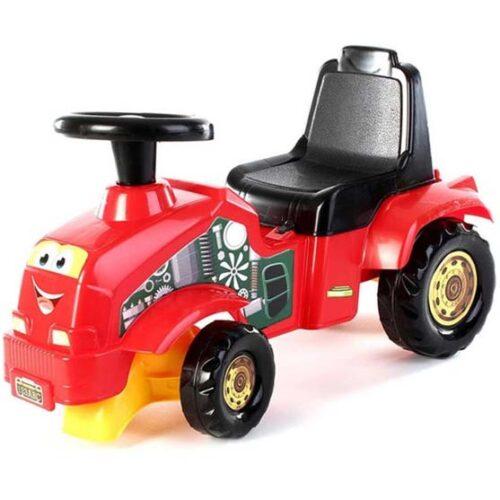 crvena guralica za decu u obliku traktora dolu