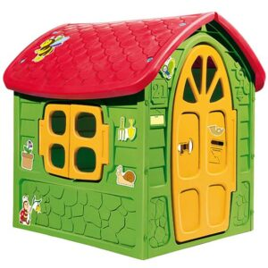 zelena kucica za decu sa crvenim krovom