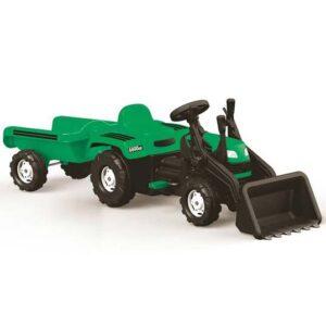 Zeleni traktor sa kasikom i prikolicom Dolu