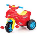 crveni tricikl sa plavim tockovima jawa