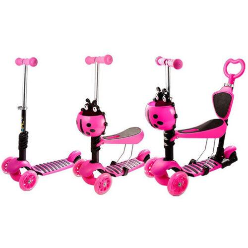 Trotinet za decu roze boje sa bubamarom napred rasklopljen i sklopljen u guralicu