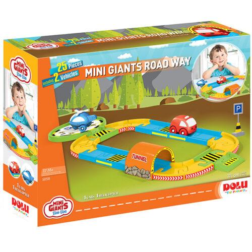 auto staza veselih boja sa auticem i helikopterom nacrtano na kutiji