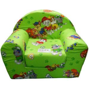 Fotelja za decu Soft Patrolne šape zelena