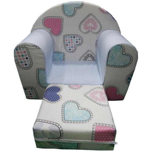 Foteljica za decu Soft Srce belo 2