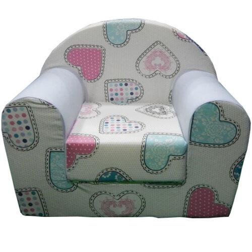 Foteljica za decu Soft Srce belo