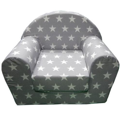 Foteljica za decu Soft Zvezdice sive