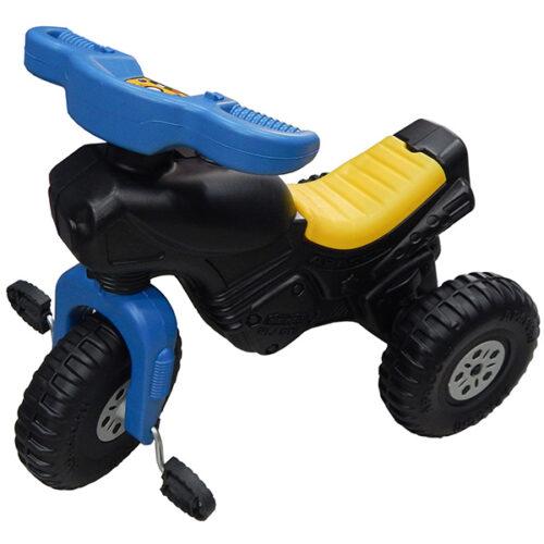 crni tricikl za decu sa plavim i zutim detaljima