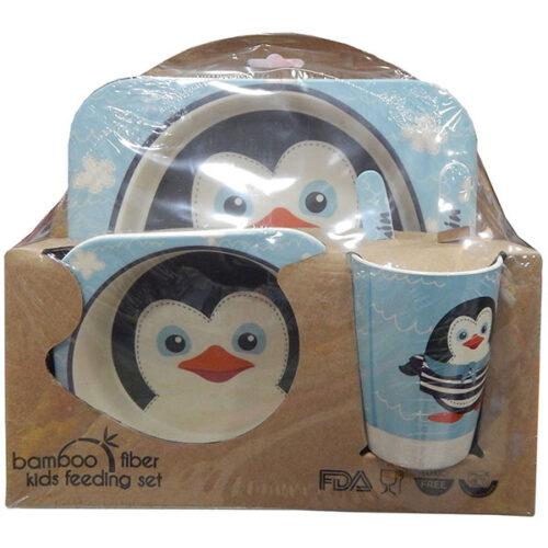 Deciji set za jelo od bambusa Pingvin