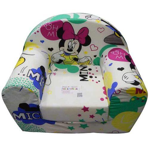 Foteljica za deci Soft Minnie bela