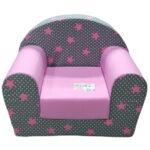 sivo roze foteljica za decu soft