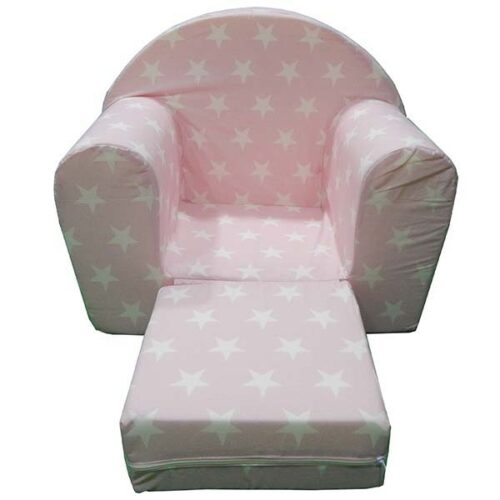 Foteljica za devojcice roze sa zvezdama