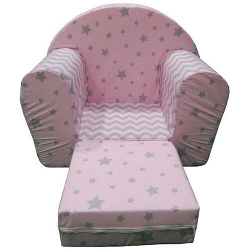 Decija foteljica roze sa sivim zvezdicama