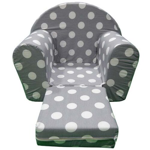 Fotelja za malu decu siva sa tufnama
