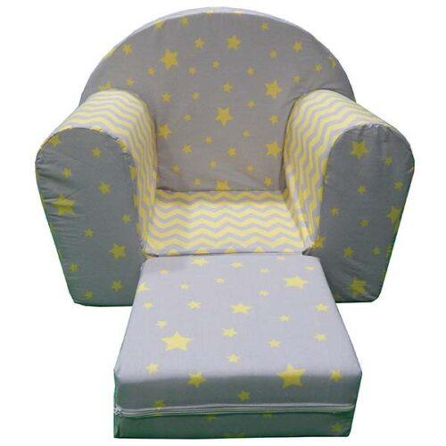 Decija fotelja Soft siva sa zutim zvezdicama