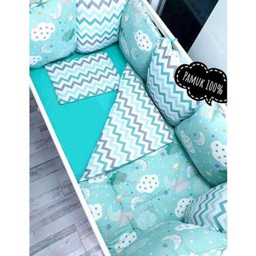 Tirkizna posteljina za krevetac