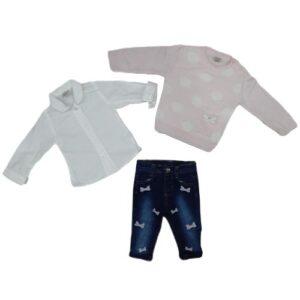 Roze duks sa tufnicama, kosulja i pantalonice za devojcice 3271