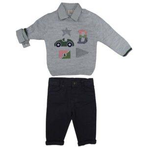 Kosulja sivi dzemper i teget pantalone za bebe