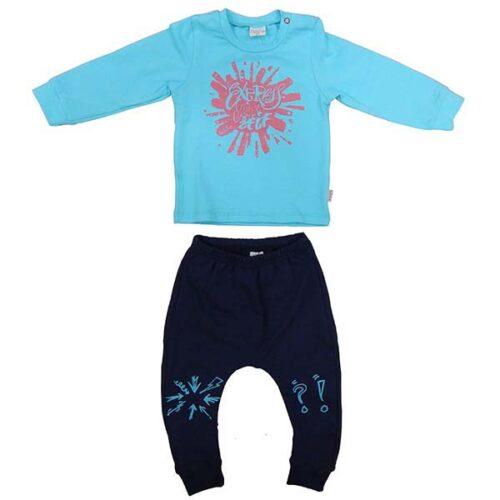 Komplet plava bodi majica i teget pantalone za decaka