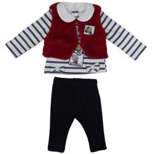 Prugasta bodi majica cupavi prsluk i pantalone za bebe