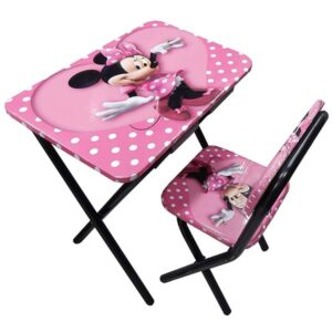 Roze drveni sto i stolica Mini maus