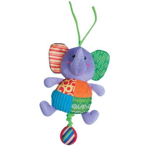 Sarena plisana igracka za bebe Slonic