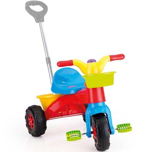 Sareni plasticni tricikl sa ruckom za guranje Dolu
