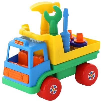 Igracka kamion sa alatom u prikolici