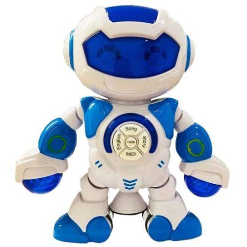 plavo beli robot koji igra