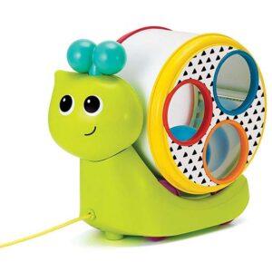 zeleni plasticni puz sa lopticama i cekicem bkids