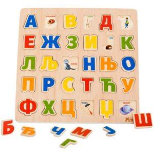 drvena slagalica za decu pino toys azbuka