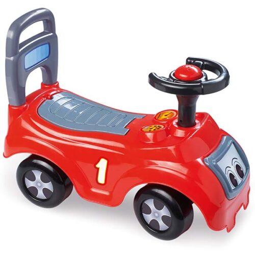 crvena guralica za decu sa crnim volanom