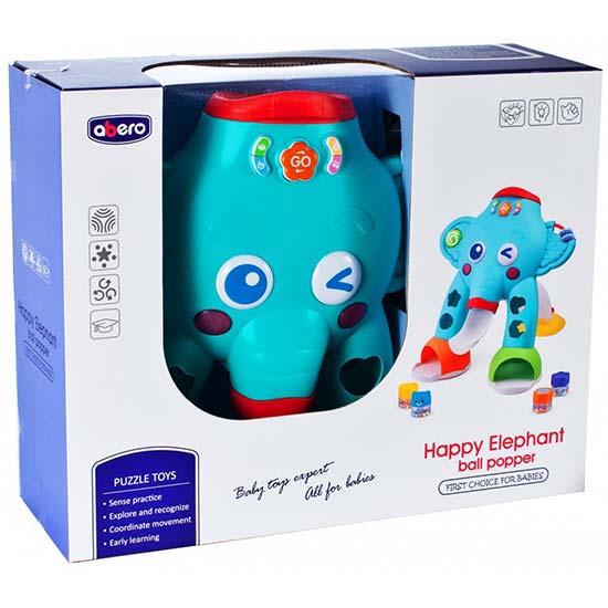 interaktivna igracka za bebe slon tirkiz abero