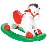 crveno beli plasticni konjic za decu