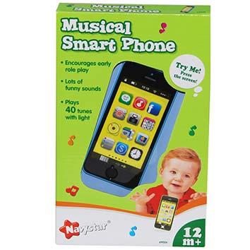 decak se igra sa muzickim telefonom navy star