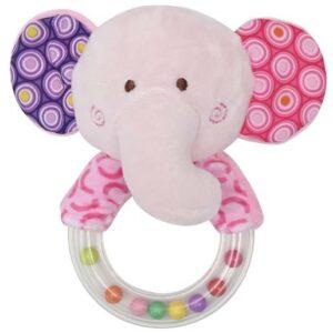 roze zvecka za bebe okruglog oblika slon