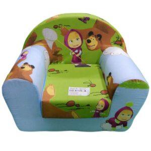sundjerasta fotelja za decu masa i meda