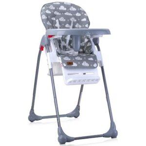 siva stolica za hranjenje bebe sa oblacima