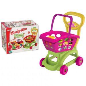 zeleno ljubicasta decija kolica za kupovinu candy