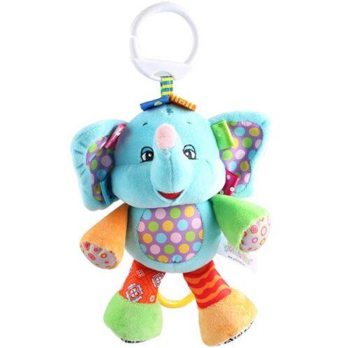 plisana muzicka igracka za bebe napovlacenje slon plavi
