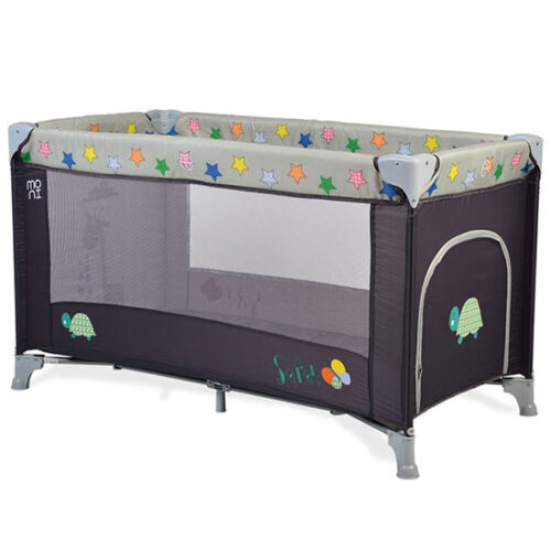 sivi prenosivi krevetac za bebe sa zvezdicama