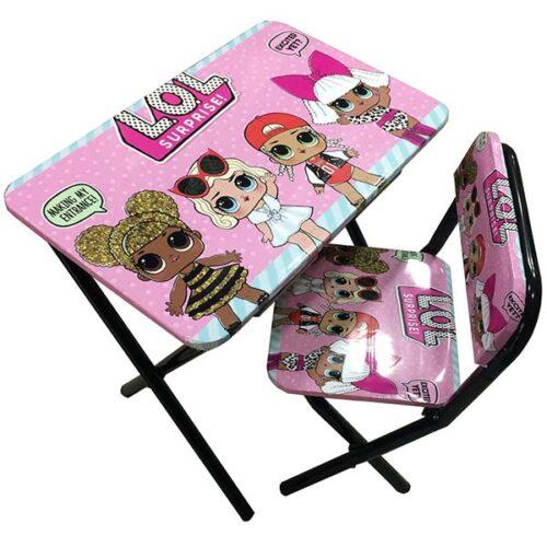 roze metalni sto i stolica LOL