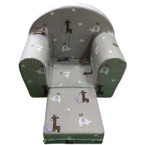 siva sundjerasta foteljica sa zivotinjicama grey
