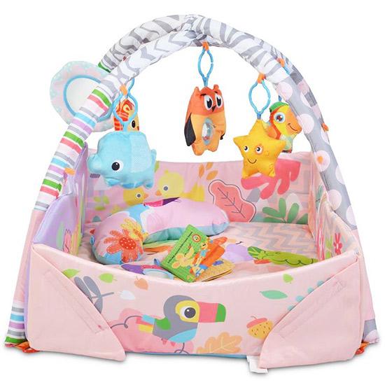 sarena gimnastika za bebe sa visecim igrackama owl