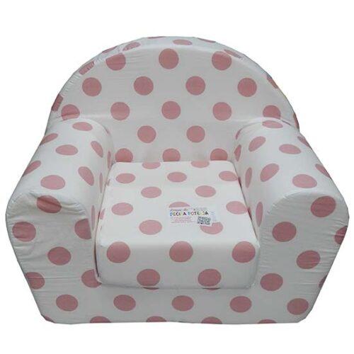 belo roze decija foteljica sa tufnama