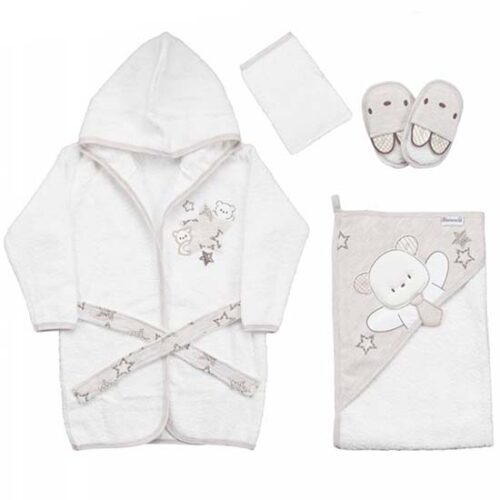 sivo beli bademantil peskir za bebe