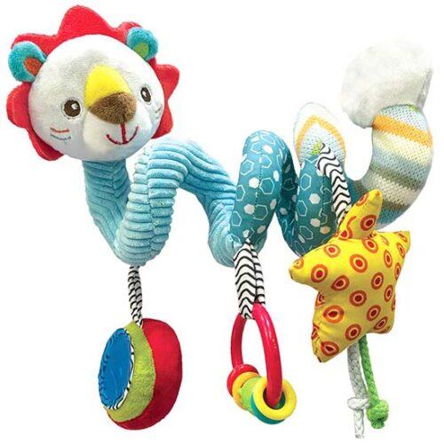 sarena plisana igracka za bebi kolica leo